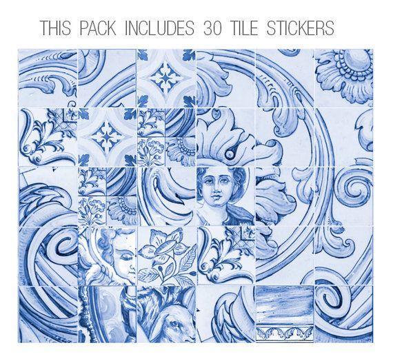 Azulejos adhesivos azulejos portugueses azulejo calcoman as etiquetas engomadas del - Pegatinas para azulejos ...