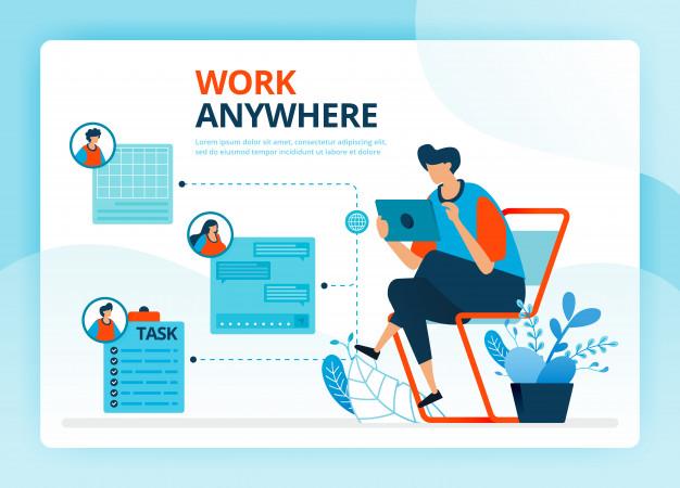 Human Cartoon Illustration For Work Anywhere And Freelance Jobs Freelancing Jobs Human Vector Brochure