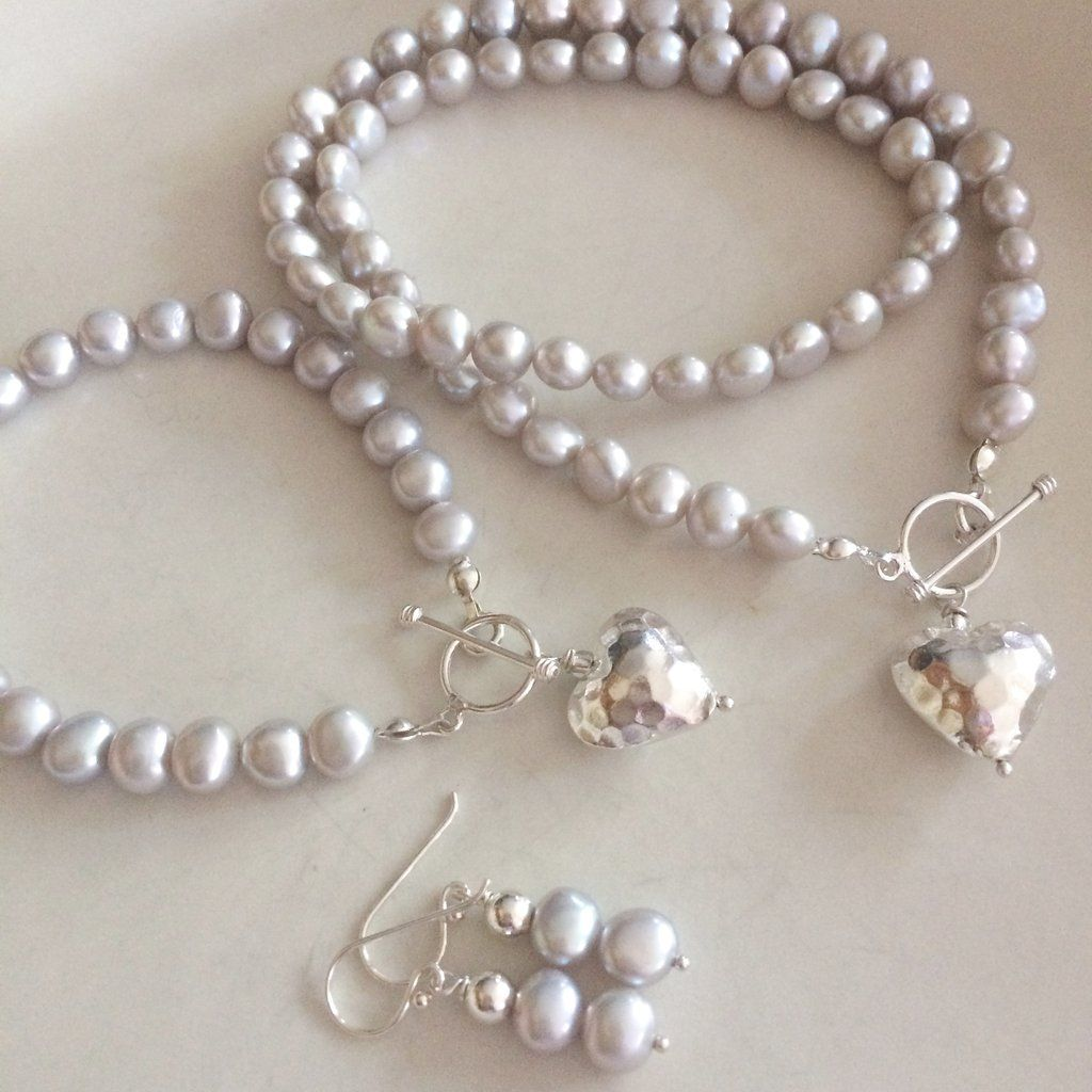 SILVER GREY FRESHWATER PEARL JEWELRY SET MELODY MOTHER OF THE BRIDE & GROOM