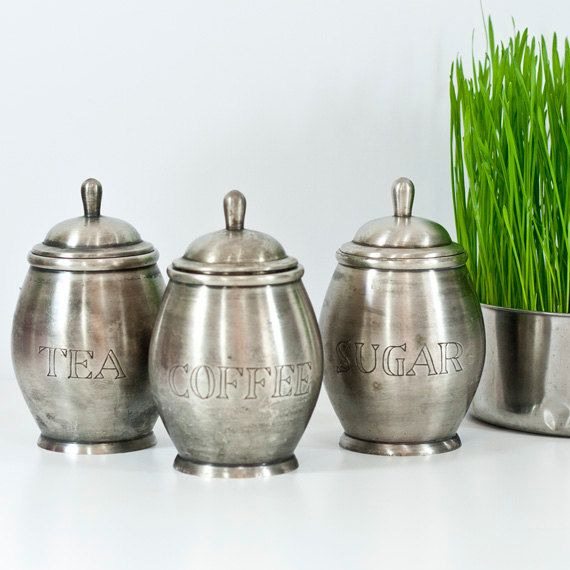 Vintage Set Of Jars Pewter Kitchen Storage Canisters Sugar Coffee Tea Metal Containers Cottage Chic
