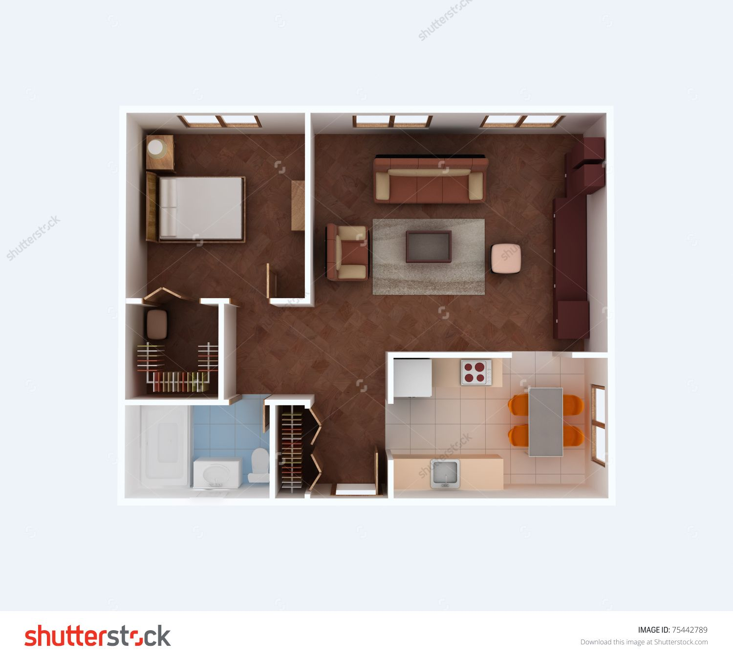 plan view of a house clear 3d interior design kitchen dining living bedroom wolk in closet on kitchen interior top view id=57559