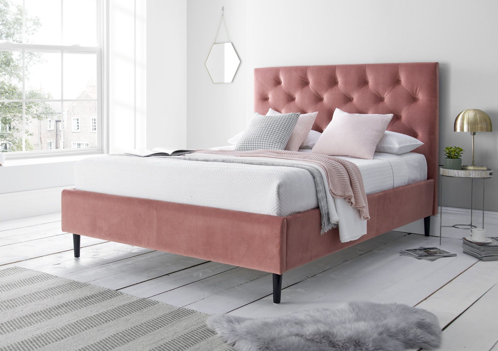 Piper Rosa Pink Upholstered Bed Frame Upholstered Bed Frame