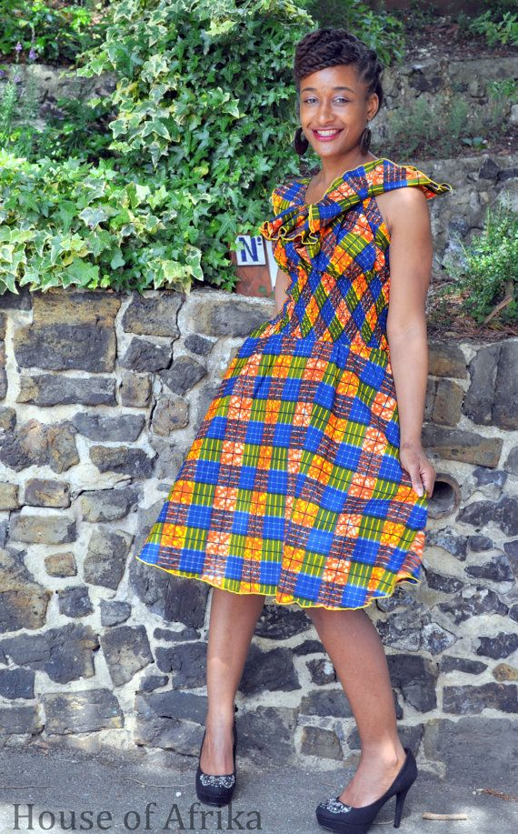 e744bbba8045d African print wide collar dress by HouseofAfrika on Etsy
