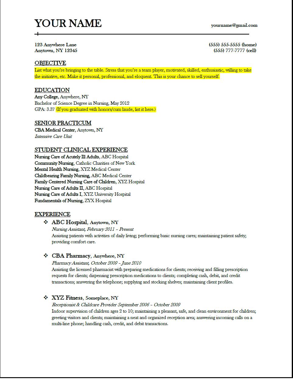 RESUME!! | Nursing school | Nursing school tips, Nursing