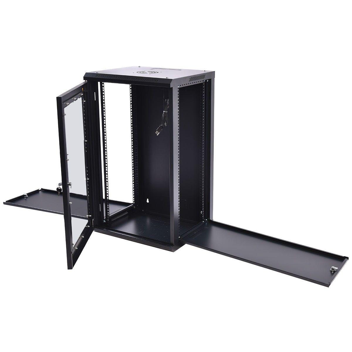 15u Wall Mount Network Server Data Cabinet Enclosure Rack Glass Door Lock W Fan Glass Door Lock Server Rack Wall Mounted Cabinet