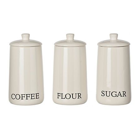Lauren Modern White Ceramic Canisters Set Of 3 Ceramic Canister
