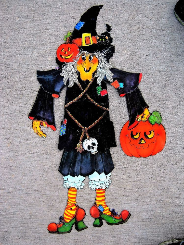 vintage hallmark jointed die cut halloween witch decoration - Witch Decorations