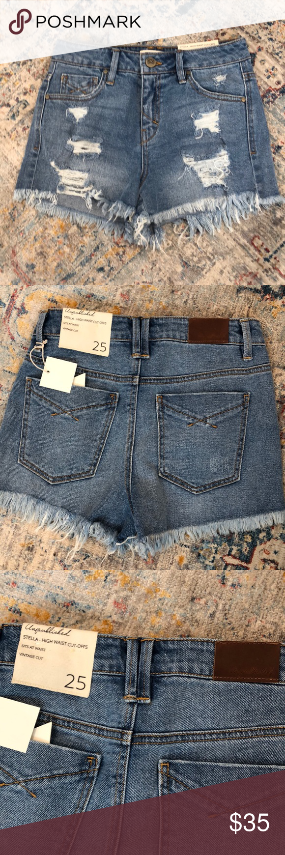 5feacf73a5 Unpublished denim Stella High Waist Shorts 25 Stella high waist cut off  shorts in a light wash with distressing in the front. Never worn.