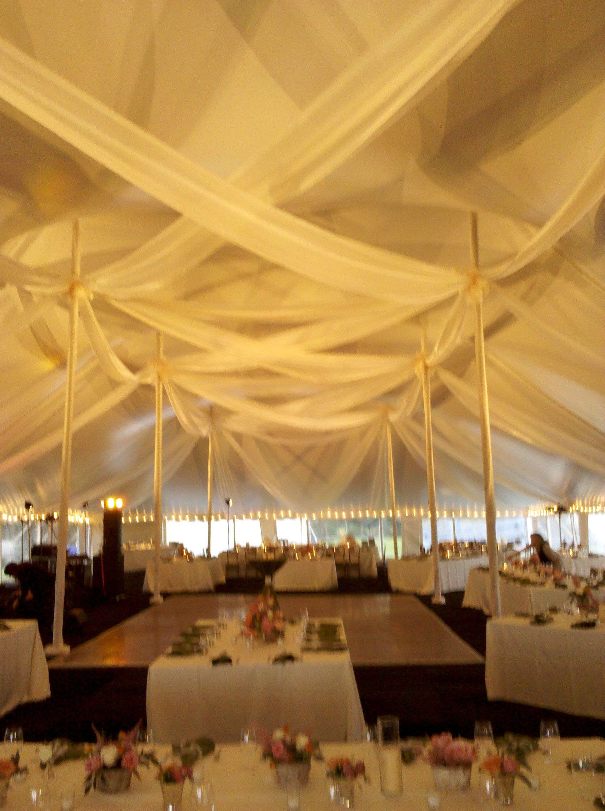 An Eastern Shore Tents and Events ceiling treatment elevated this tent to glamorous. And On & An Eastern Shore Tents and Events ceiling treatment elevated this ...