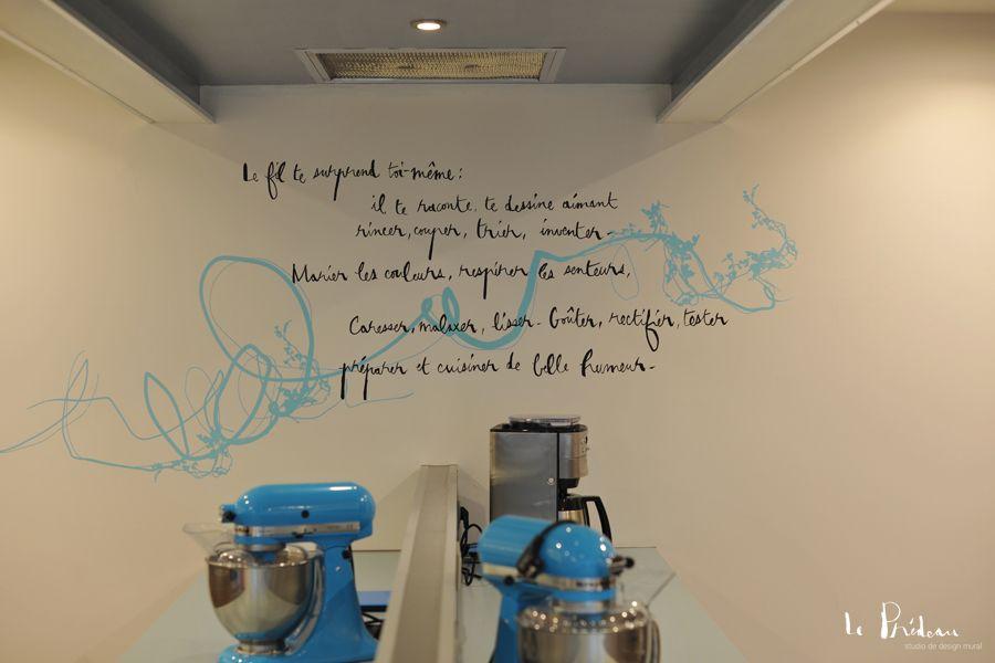 """Design mural poétique pour Équilibre, accueil de jour """"Nutrition - Santé - Bien-être"""" de la clinique Saint-Christophe"""
