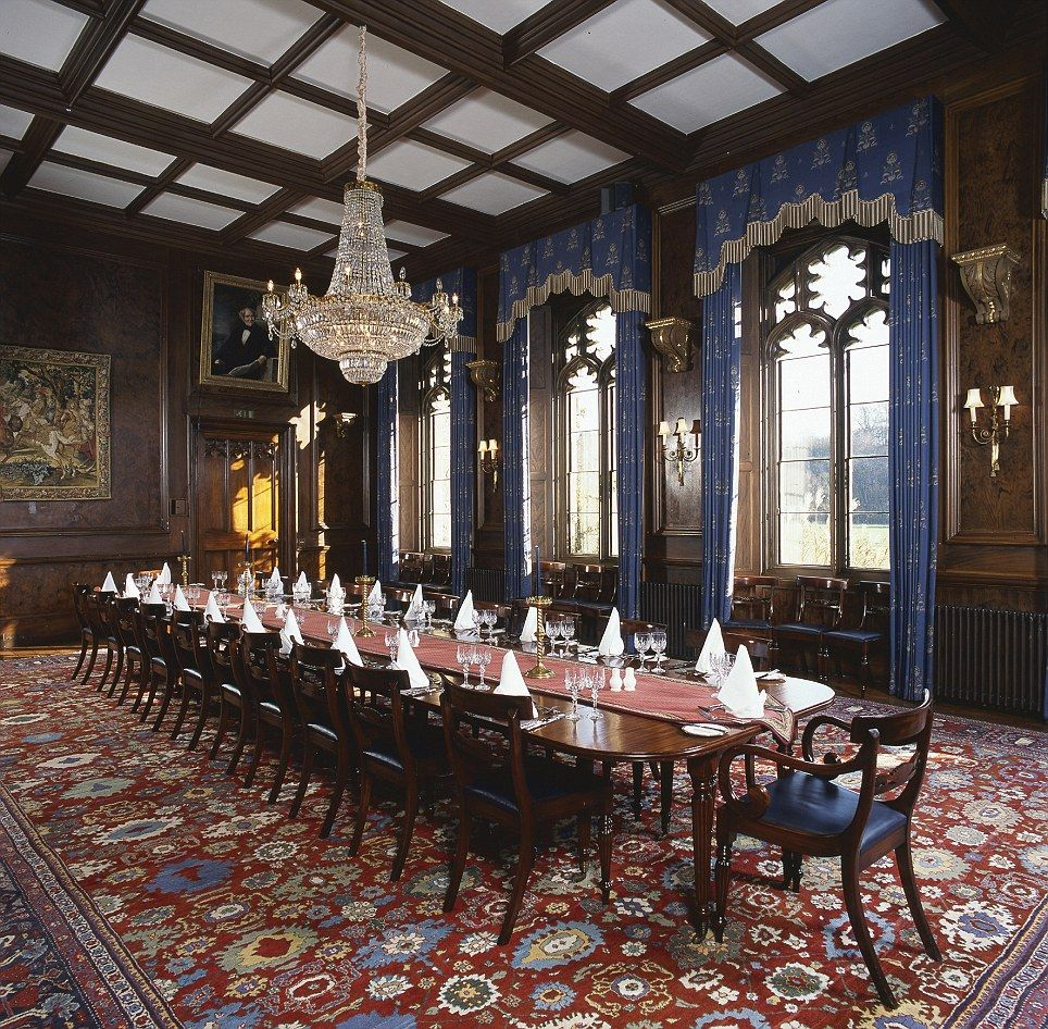 The Plush Dining Room Boats A Stunning Chandelier, Ornate