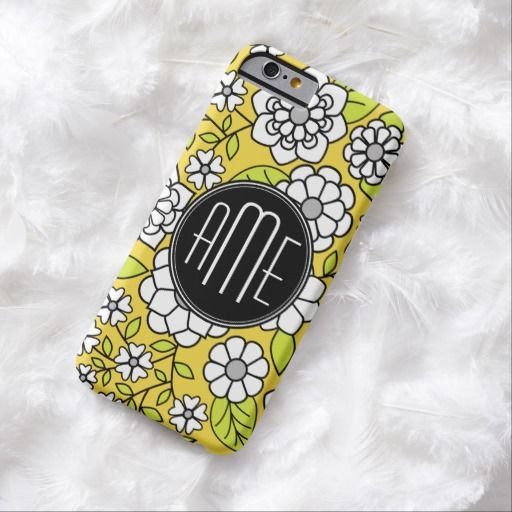 Trendy Daisy Floral Illustration - gray and yellow Barely There iPhone 6 Case
