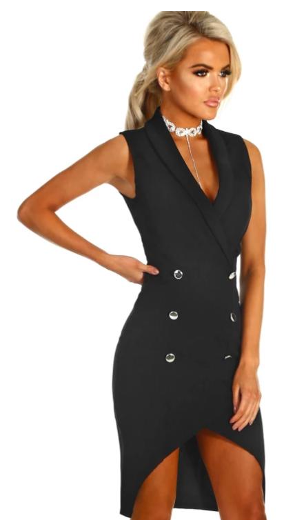 e7e82fdedf78 Blazer Dress, Black Midi Dress, Silver Buttons, Black Stilettos, Black  Blazers