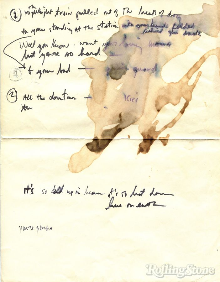 Previously Unseen Bob Dylan Lyrics From 1965. Some fragments wound up on 'Blonde on