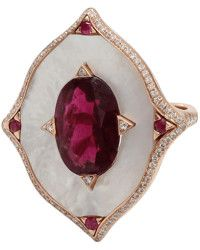 Inbar | Rubelite And Mother Of Pearl Shield Ring