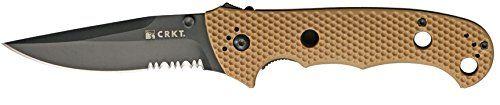 CRKT Hammond Cruiser Folding Knife, 3.75in, Black Stainless Clip Point, Desert Tan 7904DBLK BLADE -- For more information, visit image link.