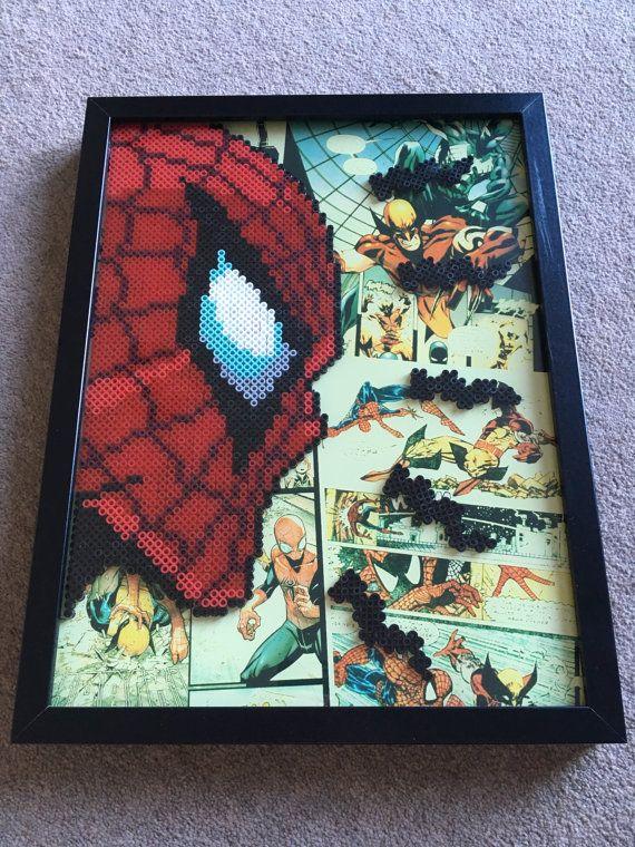 Spider-Man framed pixel bead art 30x40cm (Perler Beads
