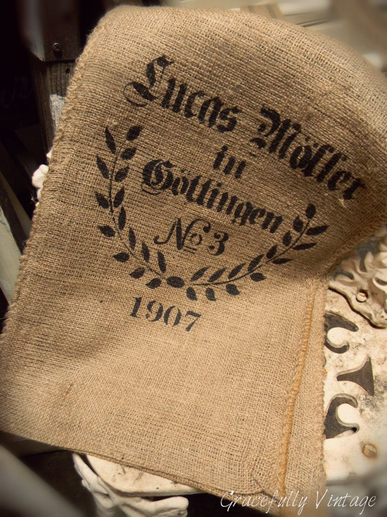 Burlap bags-Wonderful way to bring Texture to a Space  {Find Gracefully Vintage on Facebook}