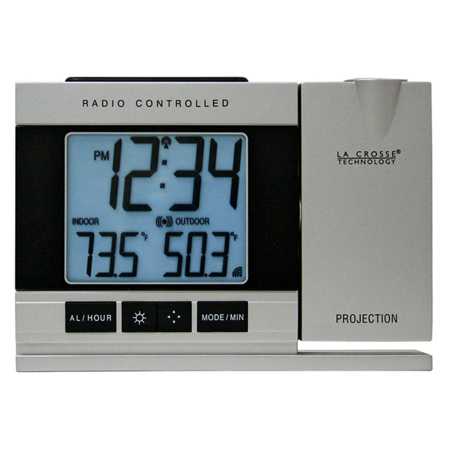 La Crosse Technology Radio Controlled or Manual Projection Alarm Clock with  Temperature - WT-5220U-IT