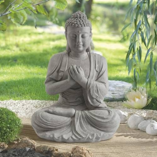 Garden statue zen buddha height 60 cm garden for Decoration jardin bouddha