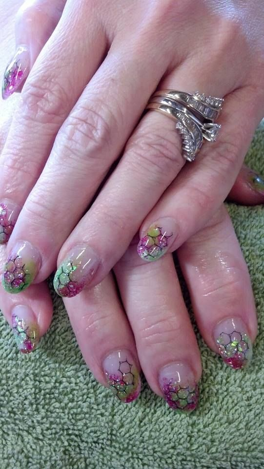 Fishnet Nail Art Design with Multi Glitter Fade | Nail Dept. Art ...