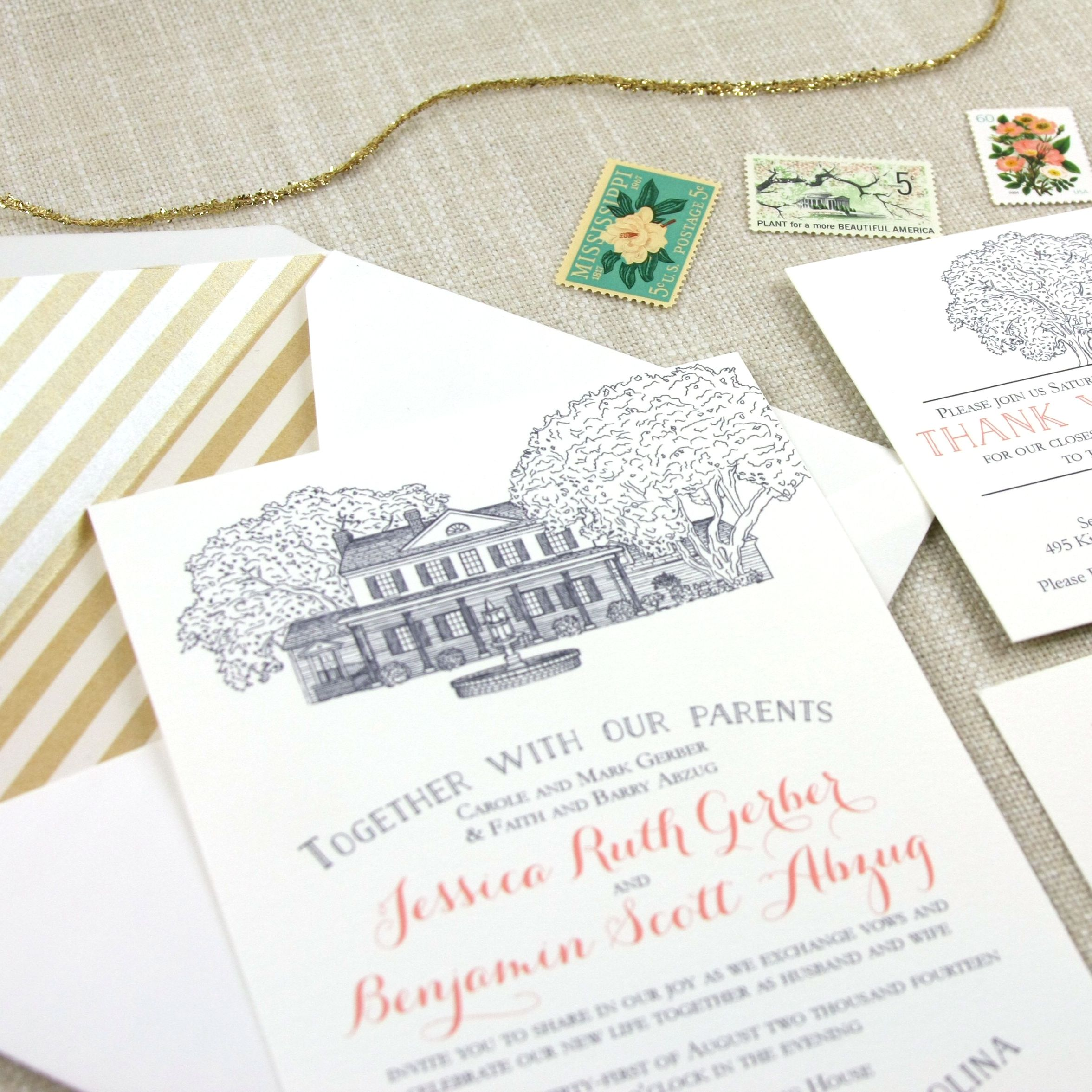 Cost Of Printing Wedding Invitations: Legare Waring House Wedding Invitation In 2019