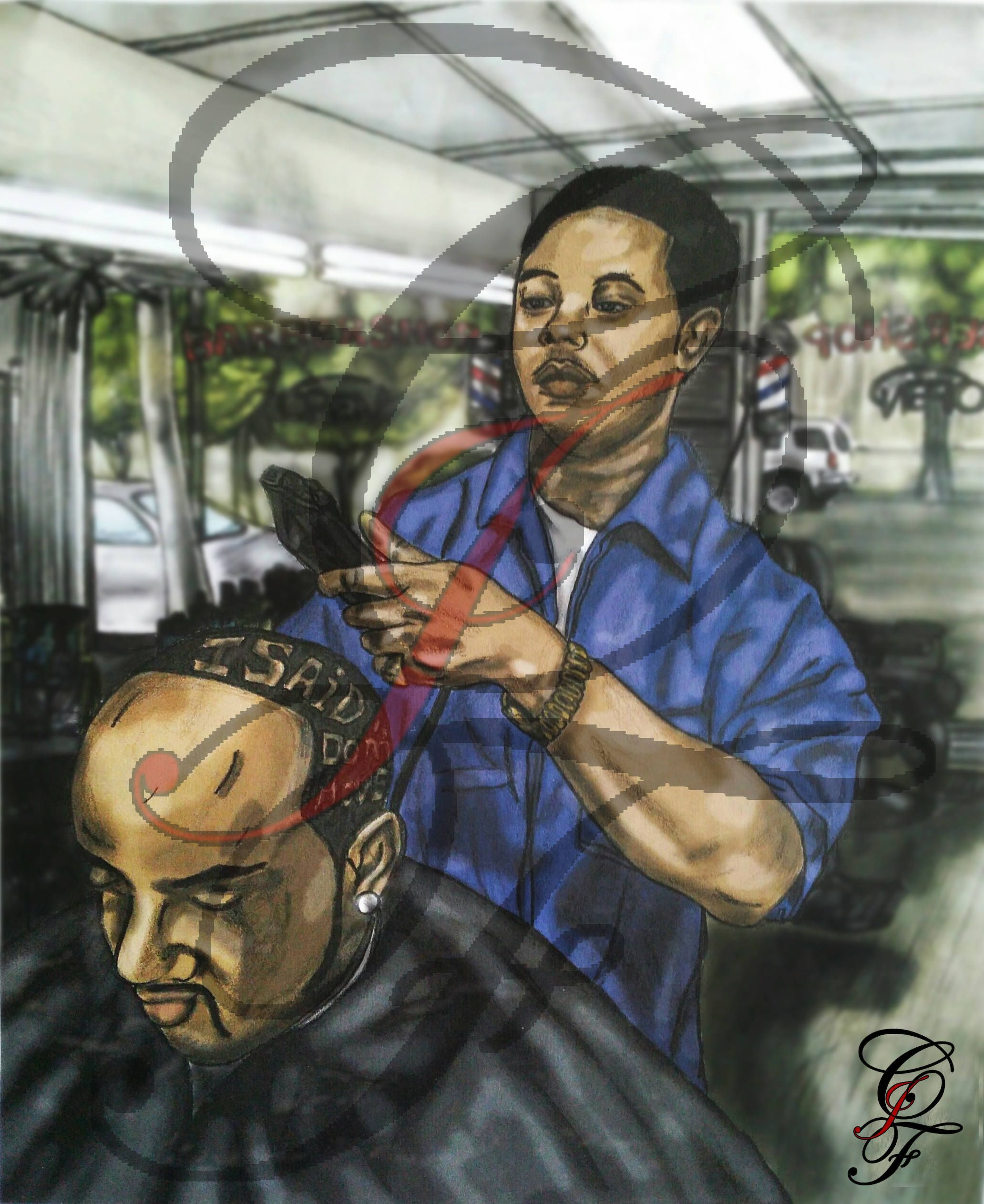 The Barbershop Digital Painting by CJFUniqueDesigns on Etsy
