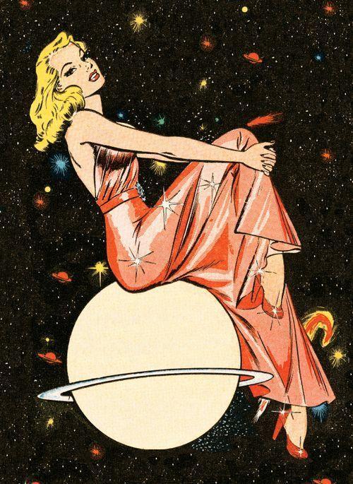 Space Babe Pinup Retro Vintage Babe Space Spacebabe Galaxy Galactic Cosmic Cosmos Art Artwork Comic 50s Pop Art Comic Vintage Pop Art Retro Art