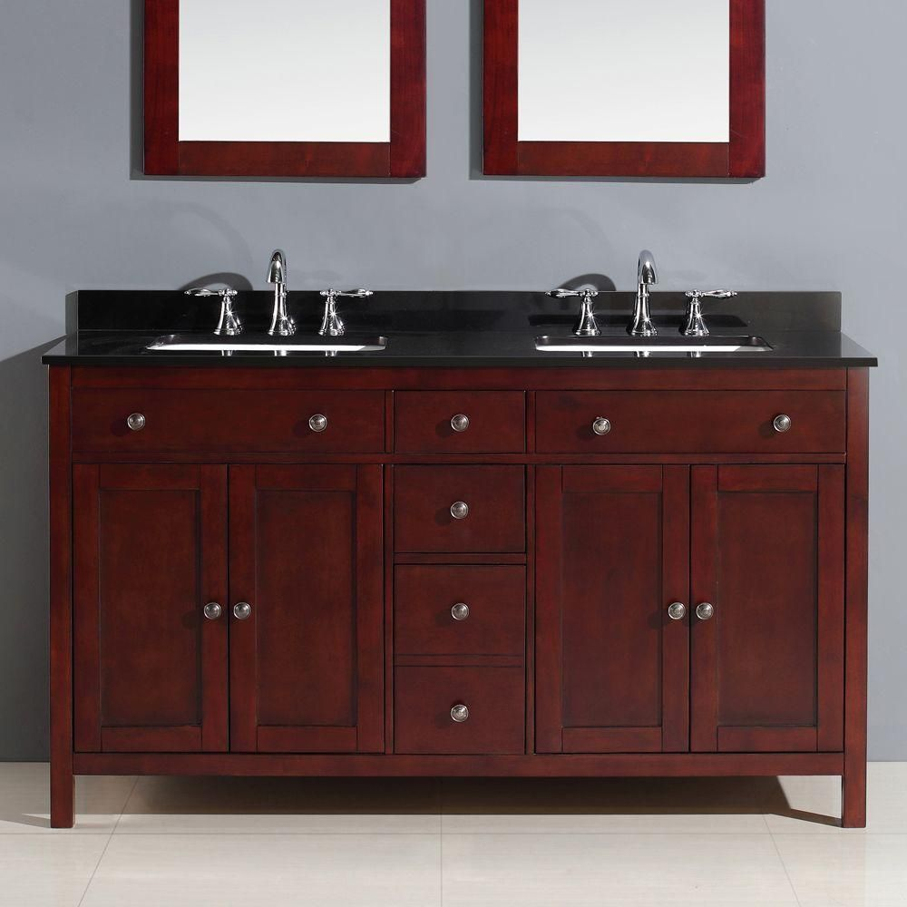 Austen 60 In. Vanity In Dark Cherry With Granite Vanity Top In  Black-PEAUSTEN60