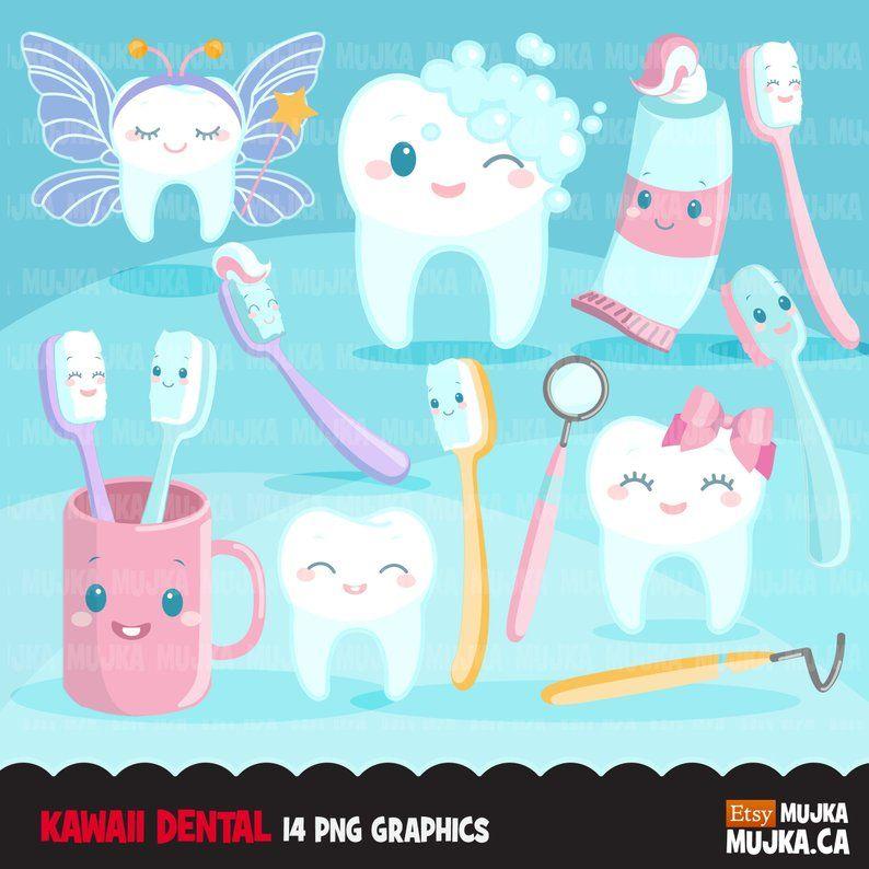 Dental Clipart Kawaii Tooth Dentist Tools Toothbrush Etsy Brushing Teeth Teeth Dentist Dental Wallpaper