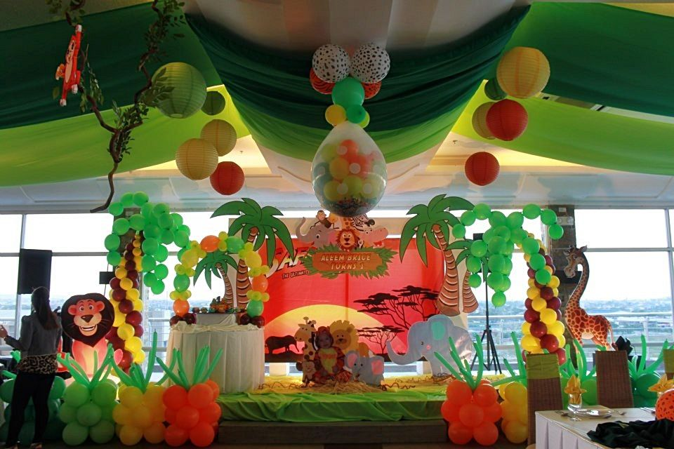 Party of Three Safari Adventure First Birthday Party : jungle theme party decoration ideas - www.pureclipart.com