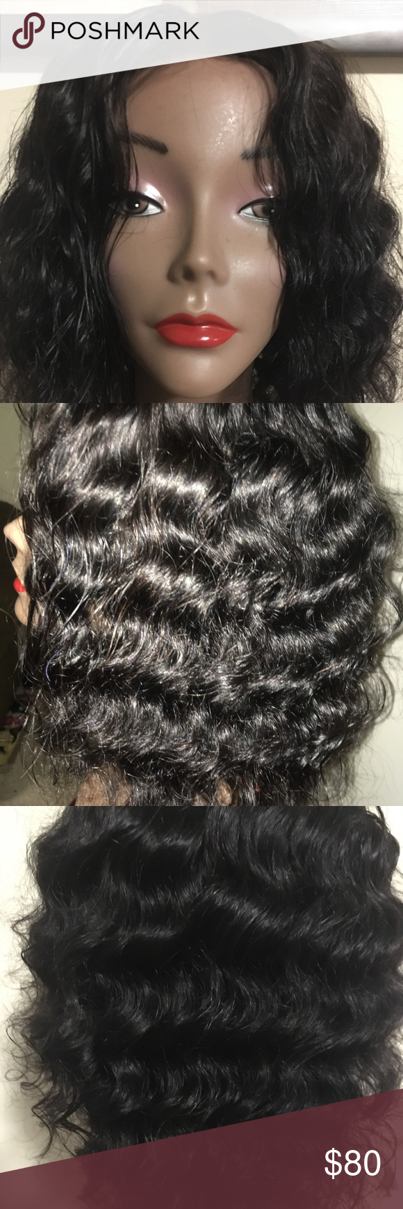 Deep wave brazilian curly hair wig 12 inch deep wave brazilian curly hair wig. 100% brazilian hair, middle lace part. May be dyed, permed or straightened. Medium cap. Accessories Hair Accessories