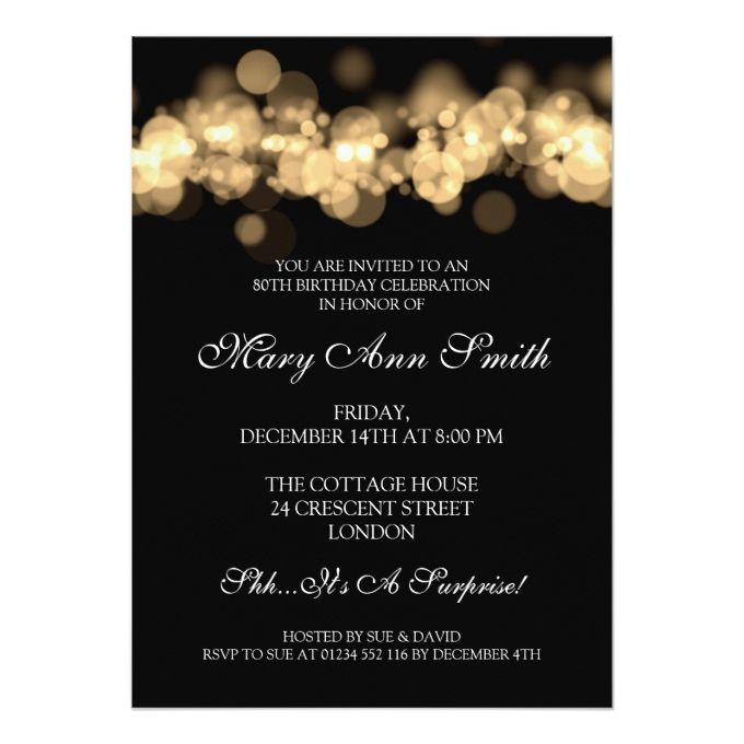Elegant 80th Birthday Party Gold Bokeh Lights 5x7 Paper Invitation Card