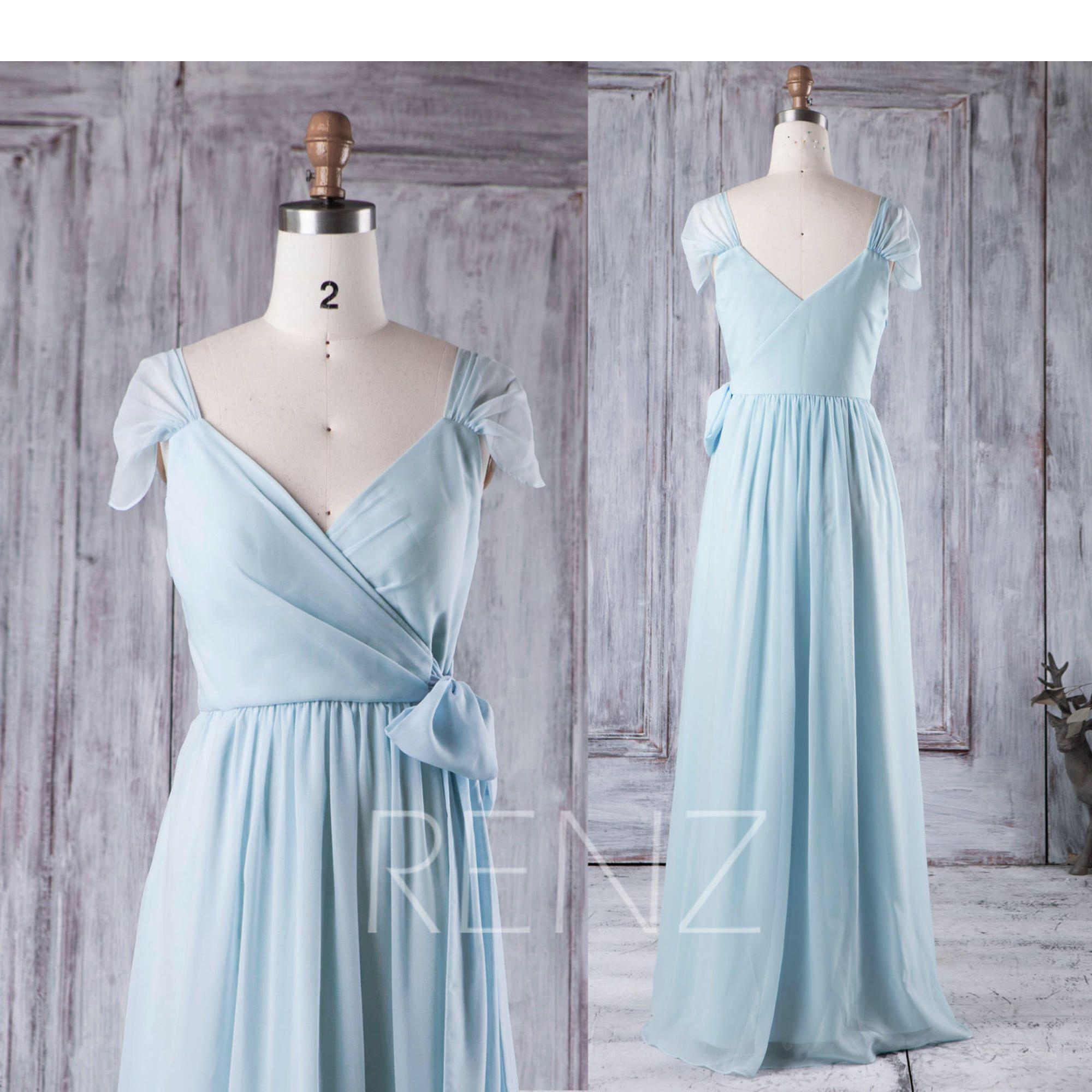 Light Blue Bridesmaid Dress Cap Sleeve Wedding Dress V Neck Prom