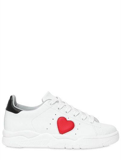 f00089edc00 CHIARA FERRAGNI 20Mm Heart Faux Leather Sneakers