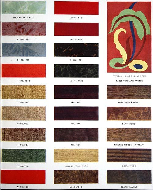 Formica Catalog From 1938 50 Colors And Designs 12 Pages Colour Chart