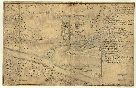 Sketch of the engagement at Trenton, given on the 26th of December 1776 betwixt the American troops under command of General Washington, and three Hessian regiments under command of Colonell Rall, in which the latter a part surrendert themselves prisoner of war. [By] Wiederhold Lieut: from the Hessian Rgmt of Knÿphauss.