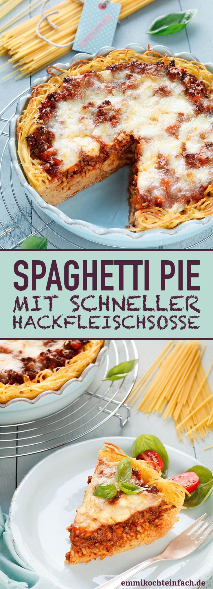 Spaghetti casserole with quick minced meat sauce  easy to cook  Spaghetti Pie  wwwemmikochteinf
