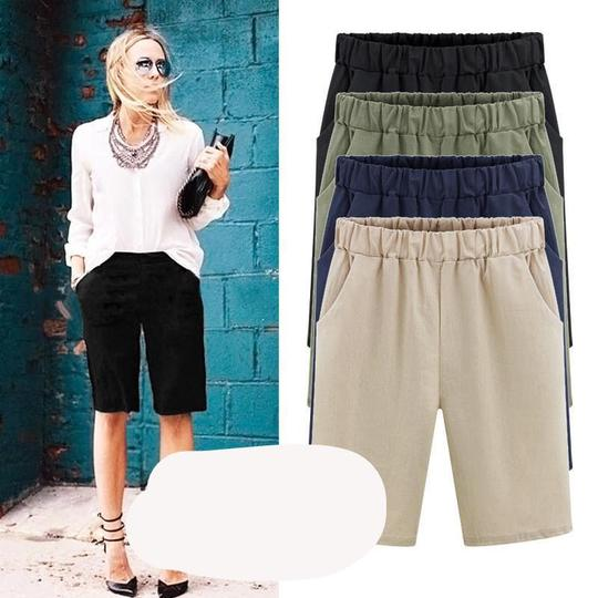 Women Cotton Plus Size Solid Loose Hot Pants Pockets Lady Summer Casual Shorts