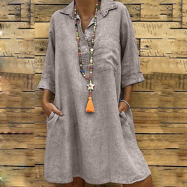 Randolly Womens Dresses,Ladies Solid Casual Short Sleeve Button Up Loose Shirt Pockets Mini Dress