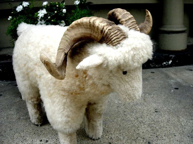 $2800 Charming Sheep Skin Covered Foot Stool With Real Horn After Lalanne 3