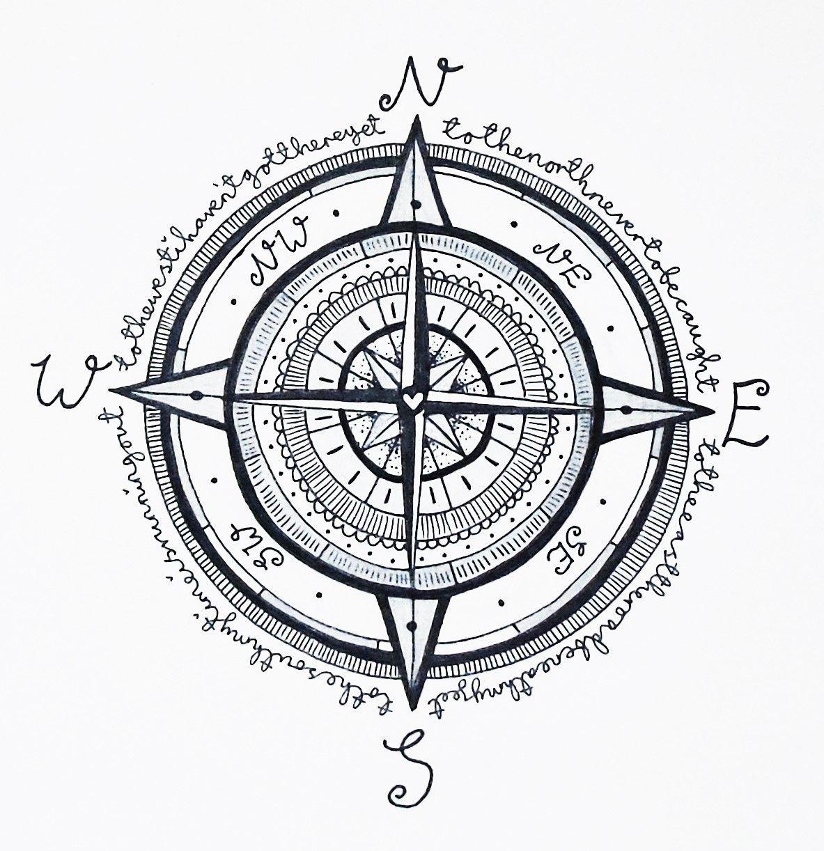 Compass Tattoo Design Illustration Floral Nautical Mandala