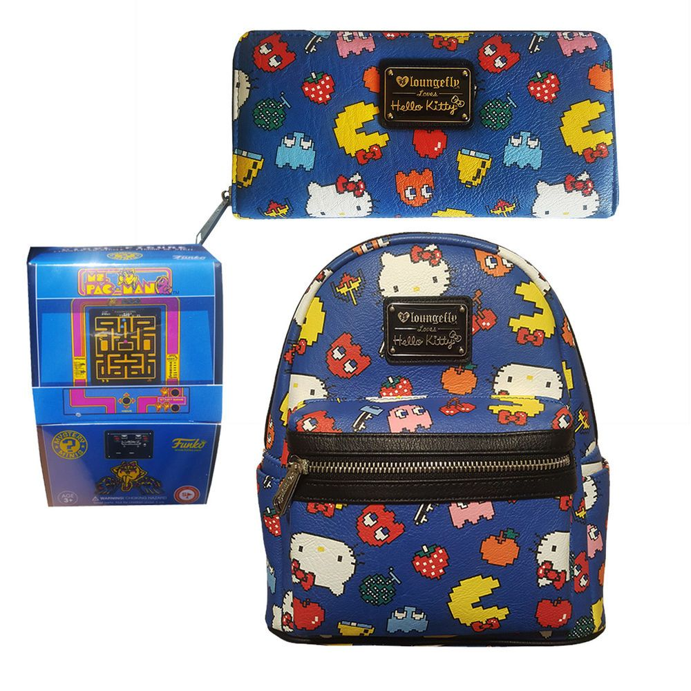 Sanrio Hello Kitty Pac Man Mini Backpack   Wallet Set by Loungefly NEW   Loungefly  Backpack 5ab319281af3e