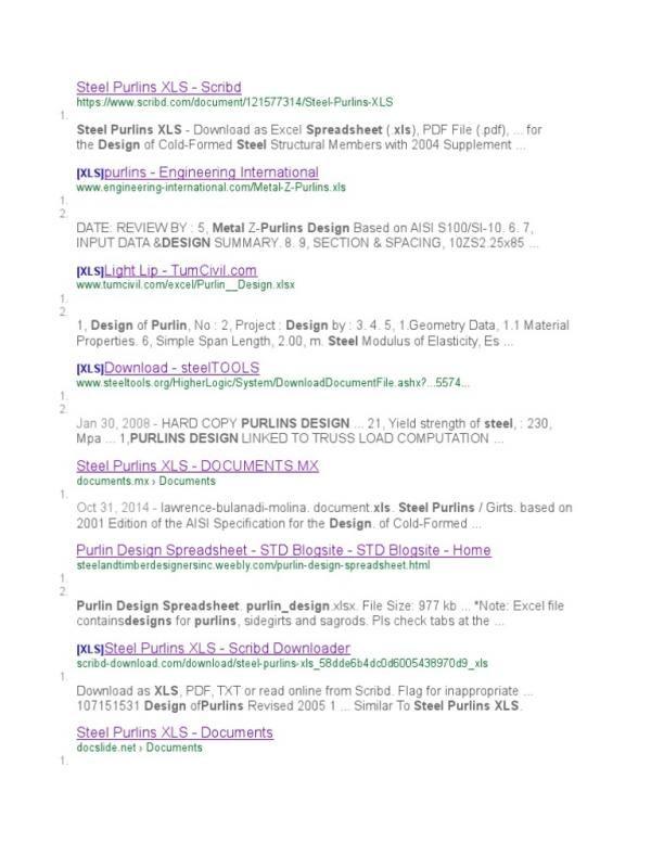 Z Purlin Design Spreadsheet Business Templates Pinterest