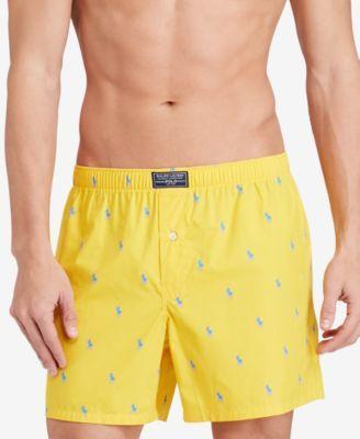 ba5c43ce47a0e Polo Ralph Lauren Men's Underwear, Allover Pony Woven Boxers - Athletic  Golden Yellow XL