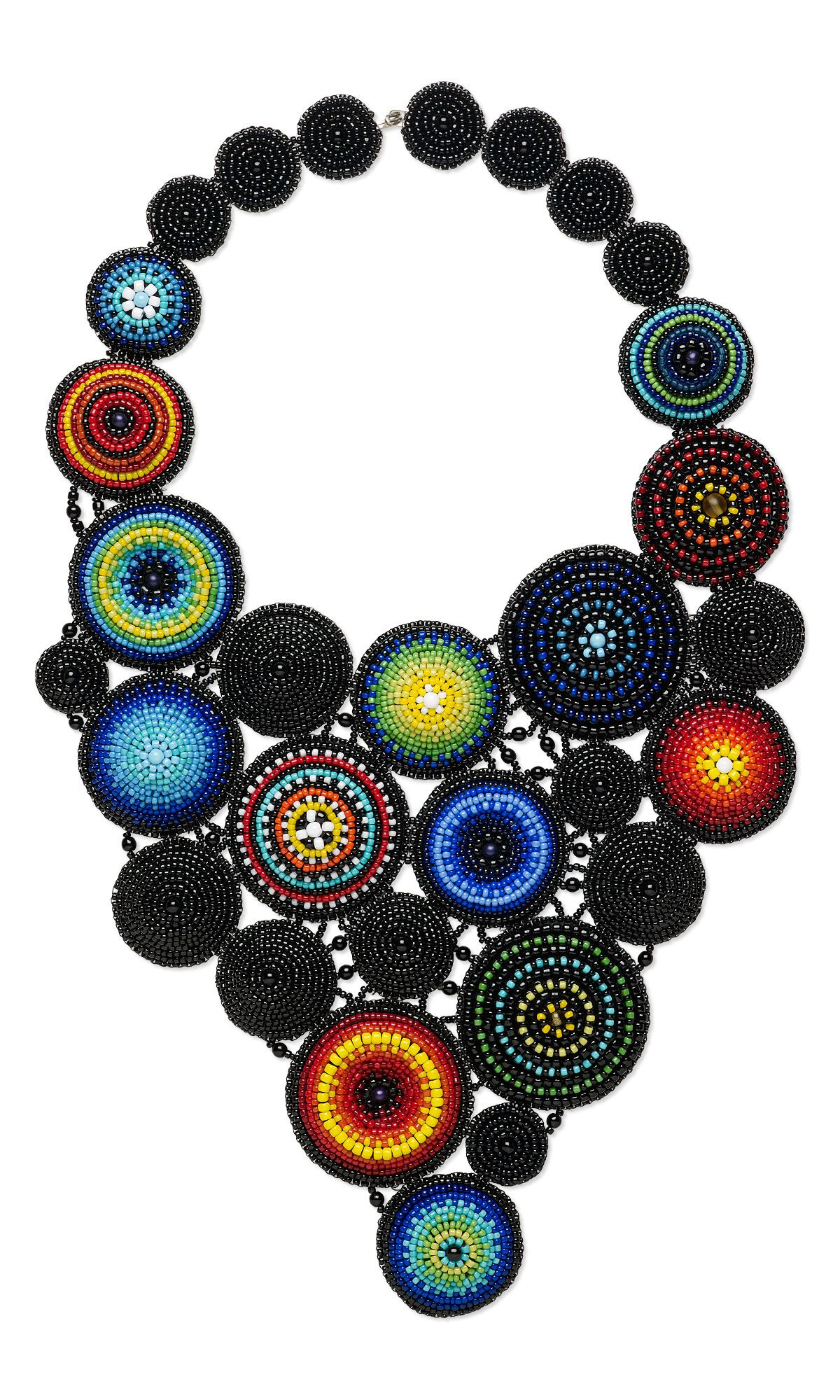 jewelry design bib style necklace with seed beads and czech glass