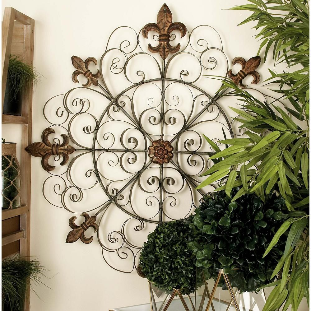 Litton Lane 42 In French Inspired Bronze Finished Iron Fleur De Lis And Scrollwork Wall Decor 63250 The Home Depot Iron Wall Decor Wrought Iron Wall Decor Outdoor Wall Decor