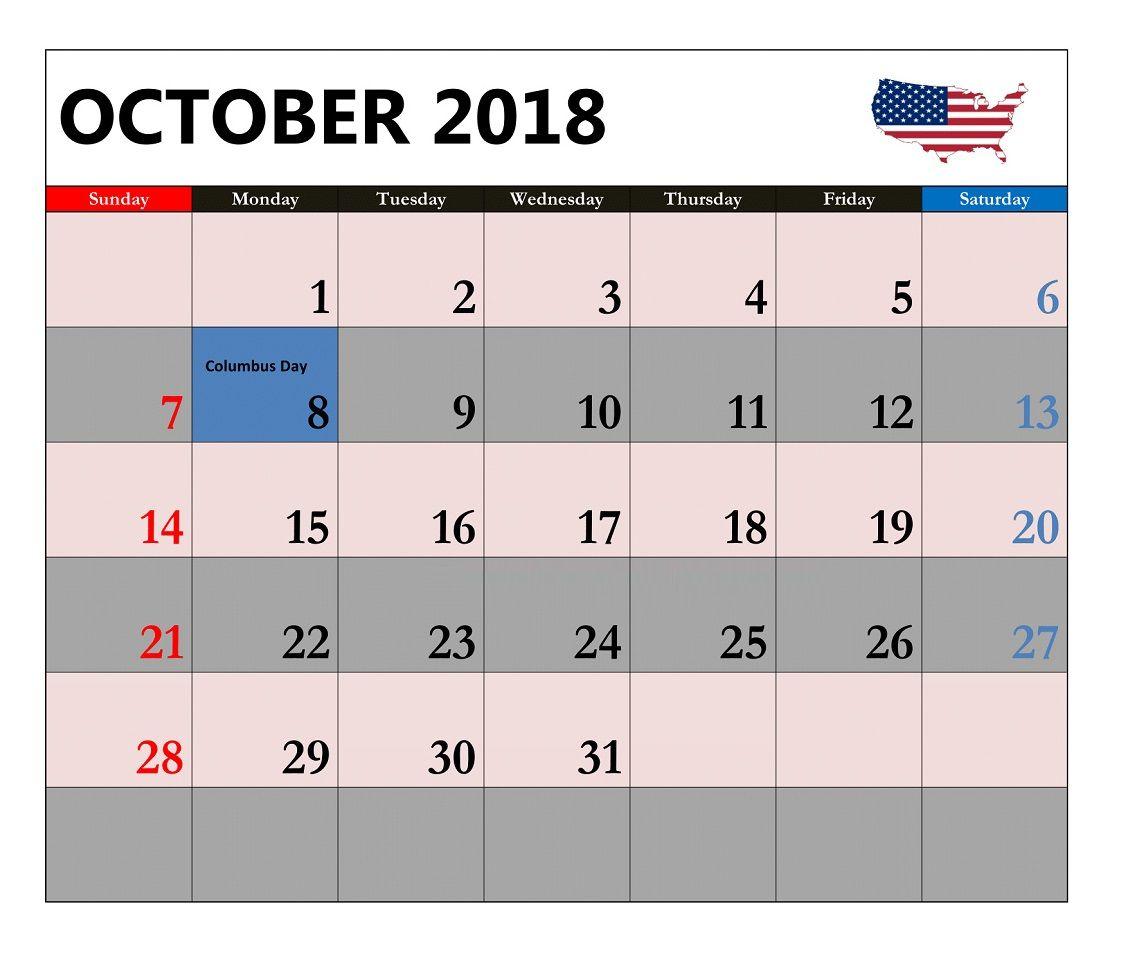 October 2018 Holidays Calendar 2018 Holiday Calendar Holiday