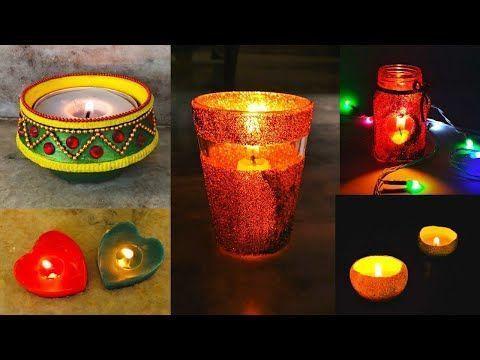 DIY: 5 einfache Diwali-Kerzen, aus denen sich zu Hause zusammensetzt Diwali Dekoideen 2019 #d...