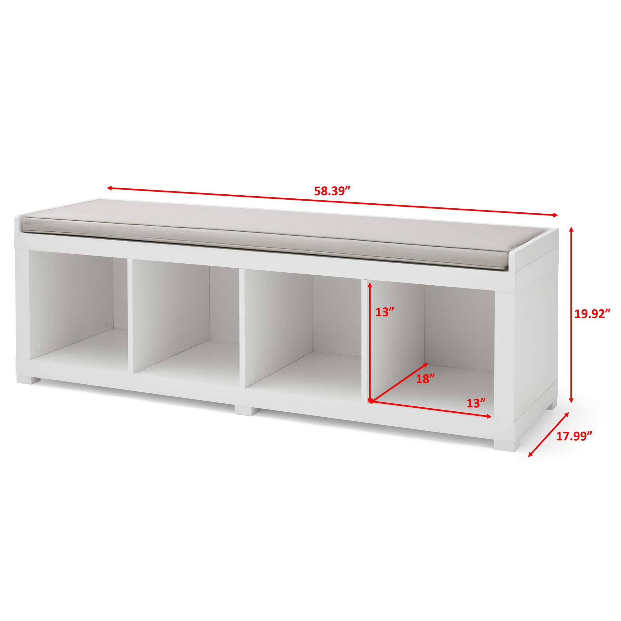 Better Homes and Gardens 4-Cube Organizer Storage Bench, White - Walmart.com